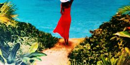 Cover detail of The Secret Path by Karen Swan showing a woman in a red dress, her back to us, looking at a beach