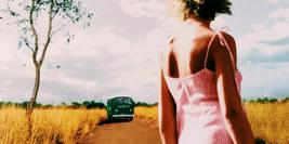 Cover details of The Dead Heart by Douglas Kennedy showing a woman in a pick dress looking at a green car