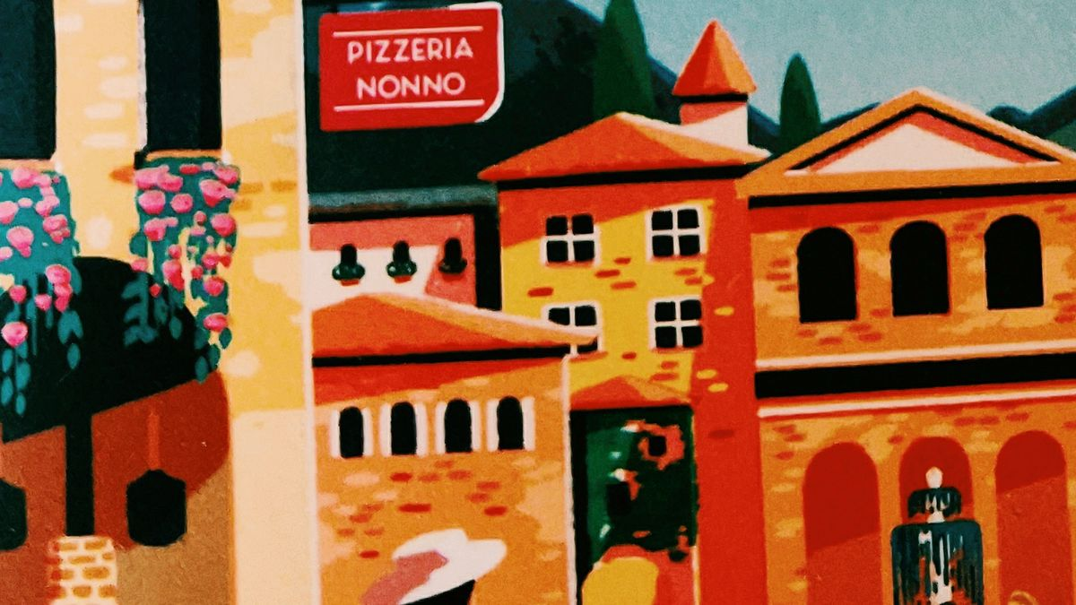 Cover detail of Chasing the Italian Dream by Jo Thomas showing a painting of an Italian street and Pizzeria