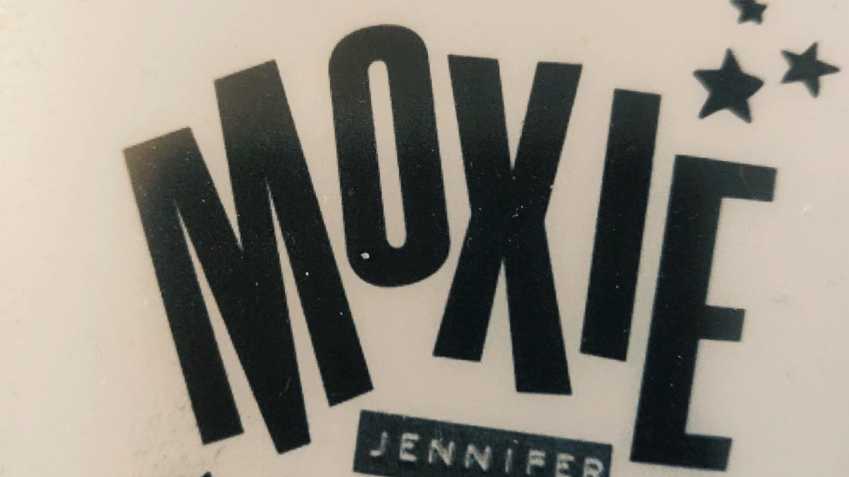 Cover Detail from Moxie by Jennifer Mathieu showing text made with a label maker