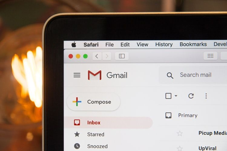 Picture of a laptop showing Gmail