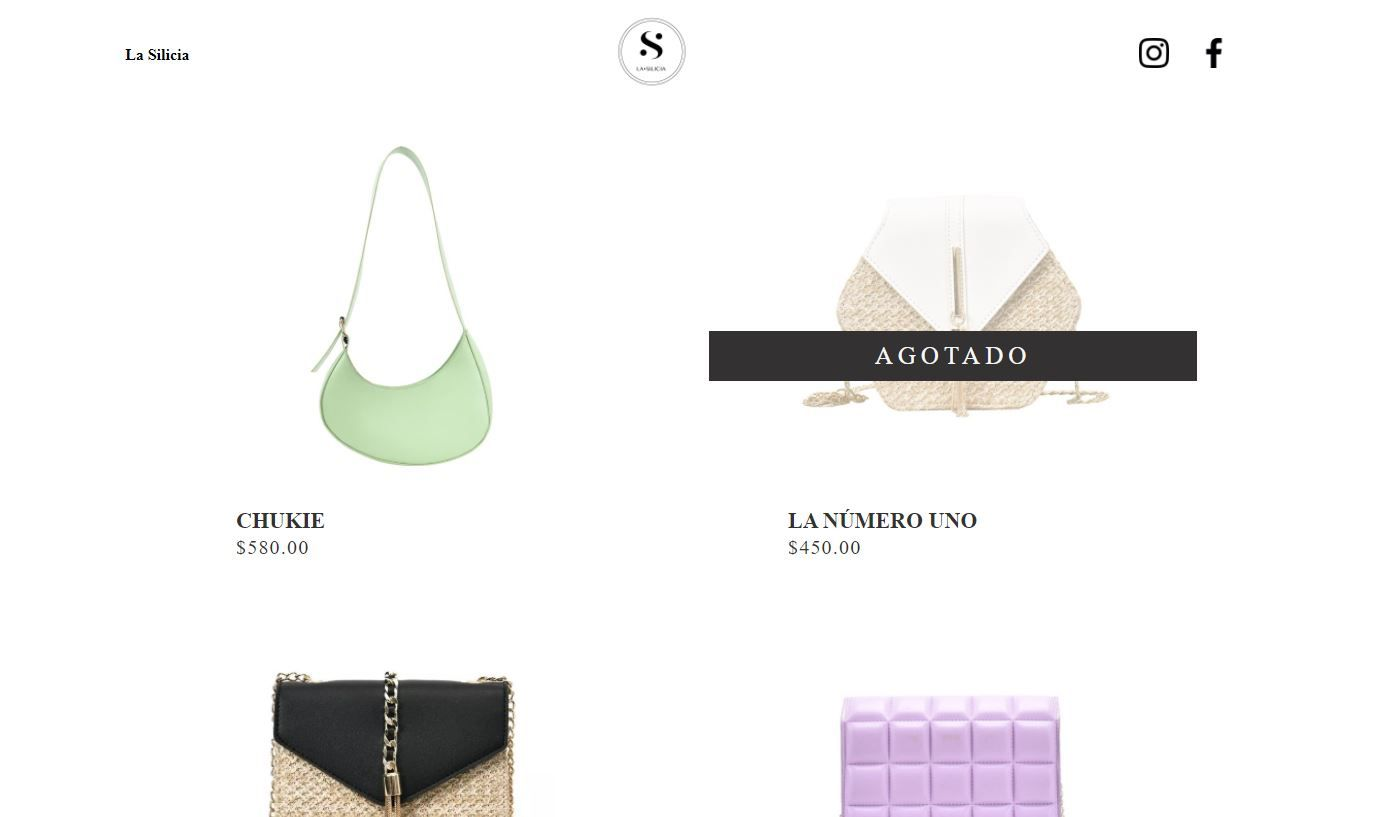 Screenshot of the Silicia website that shows four handbags with a white background