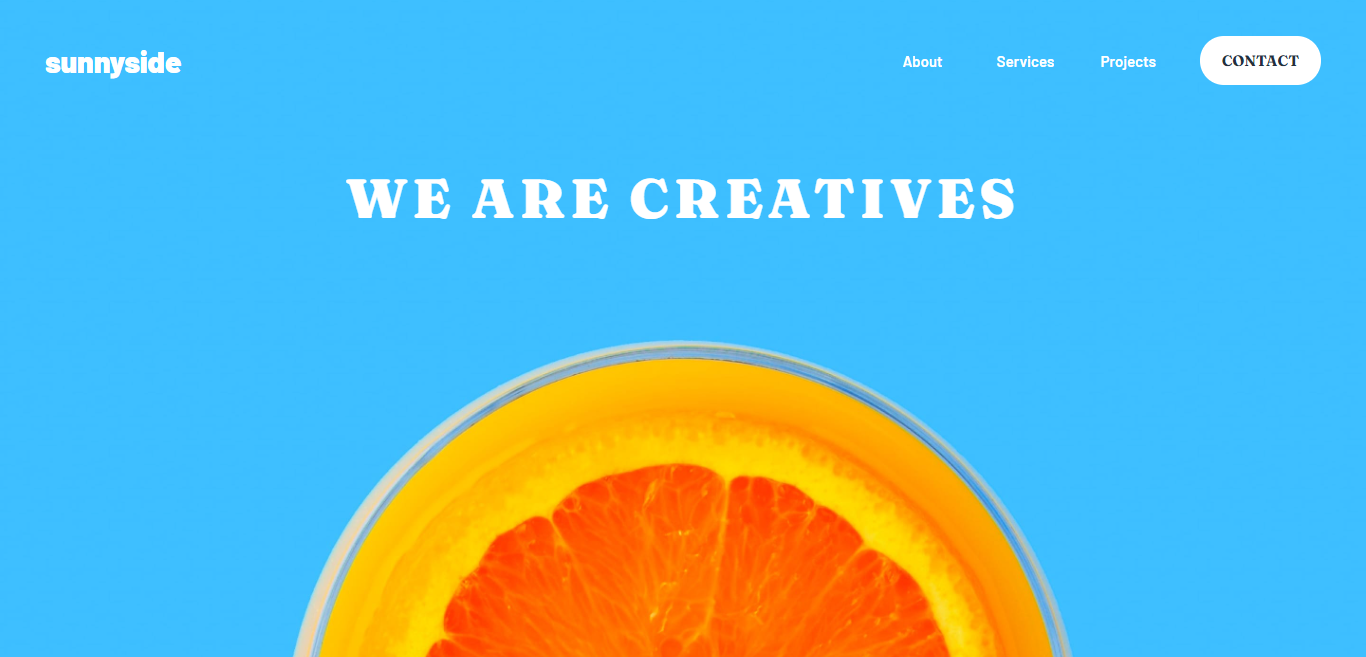 Screenshot of the Sunnyside Agency Homepage challenge from Frontend Mentor