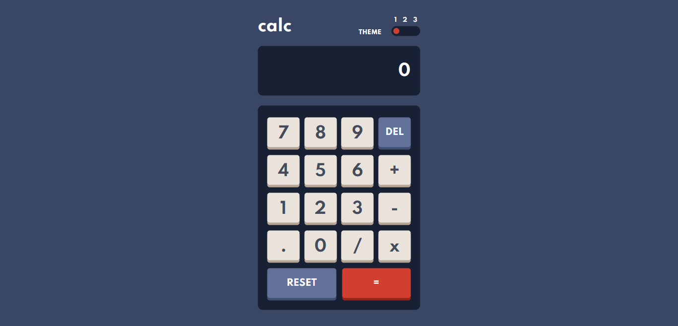 Screenshot of the calculator with blue background