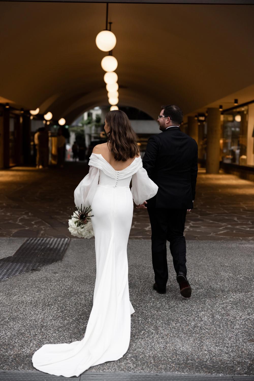 rashad bride in kyha studios Hazel wedding dress gown