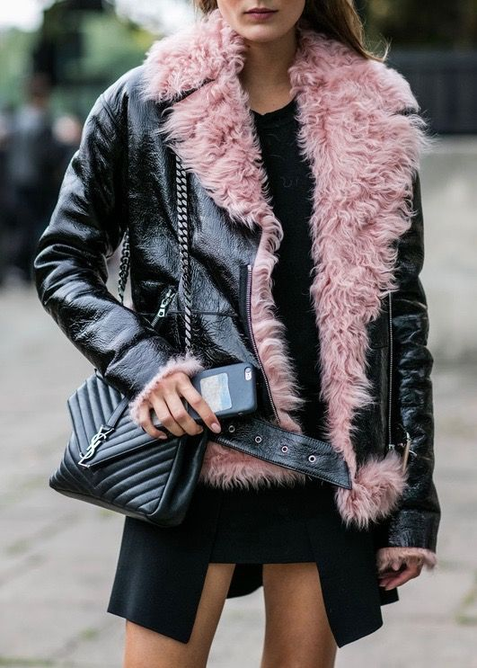 Dressing for winter fur leather coat