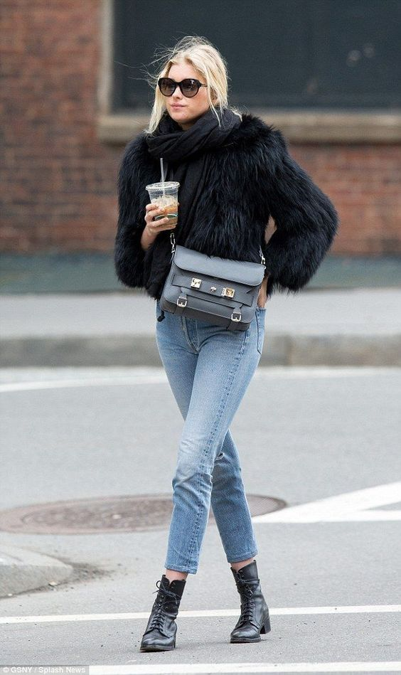 Dressing for winter fur coat jeans boots