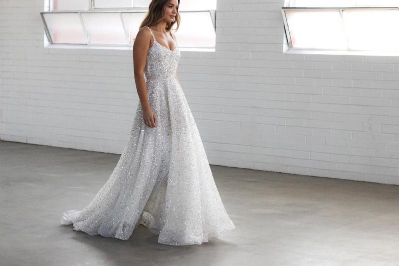 bride walking in the luna gown