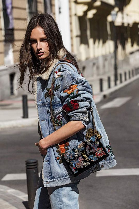 Dressing for winter embroidered denim fur