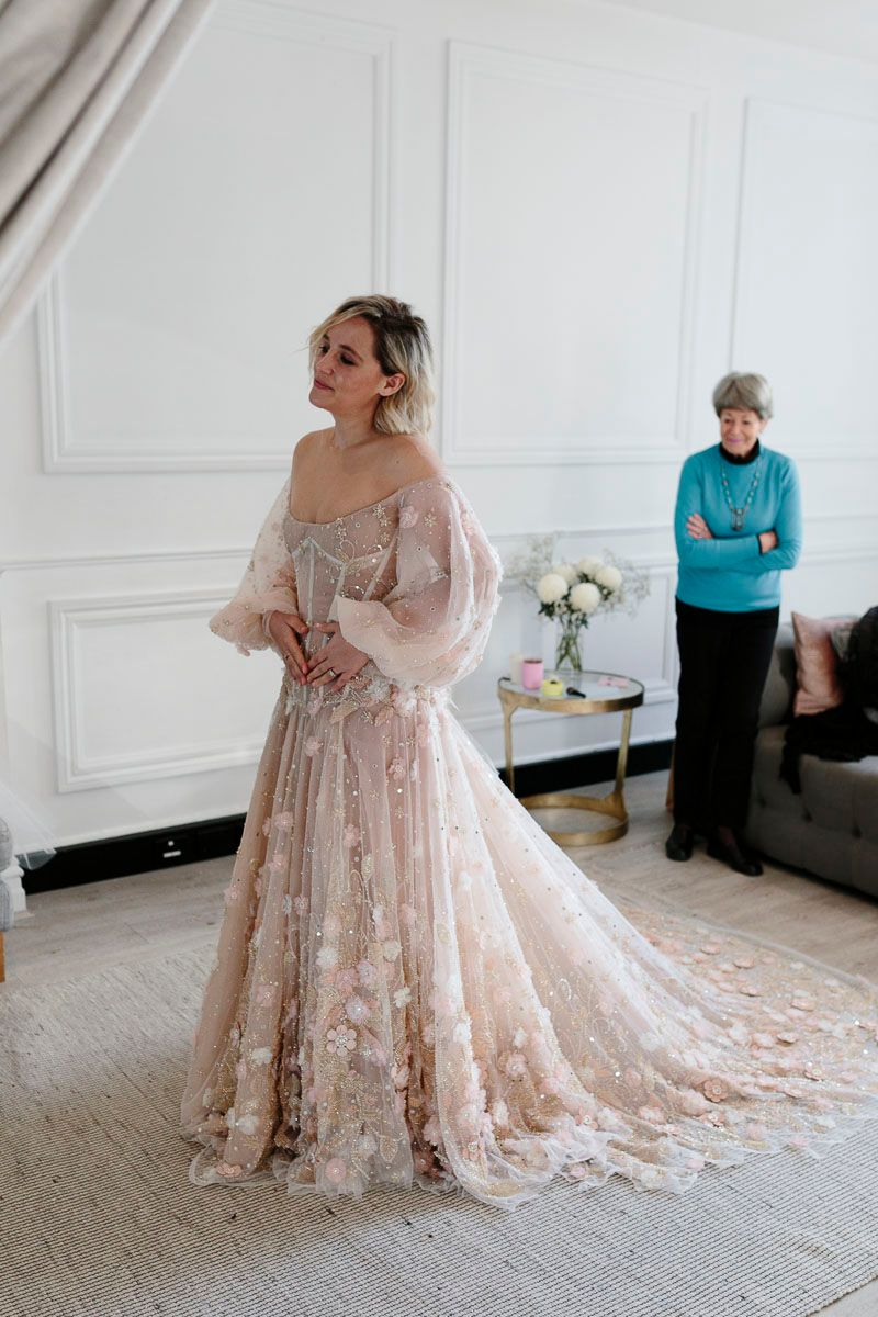 bride standing with guest at one day bridal