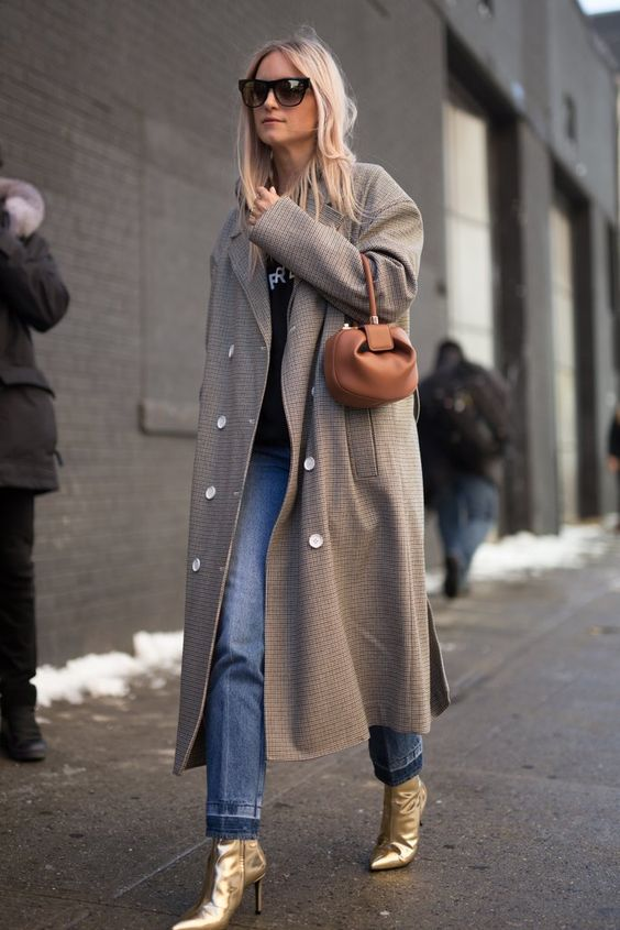 Dressing for winter oversized coat metallic boots