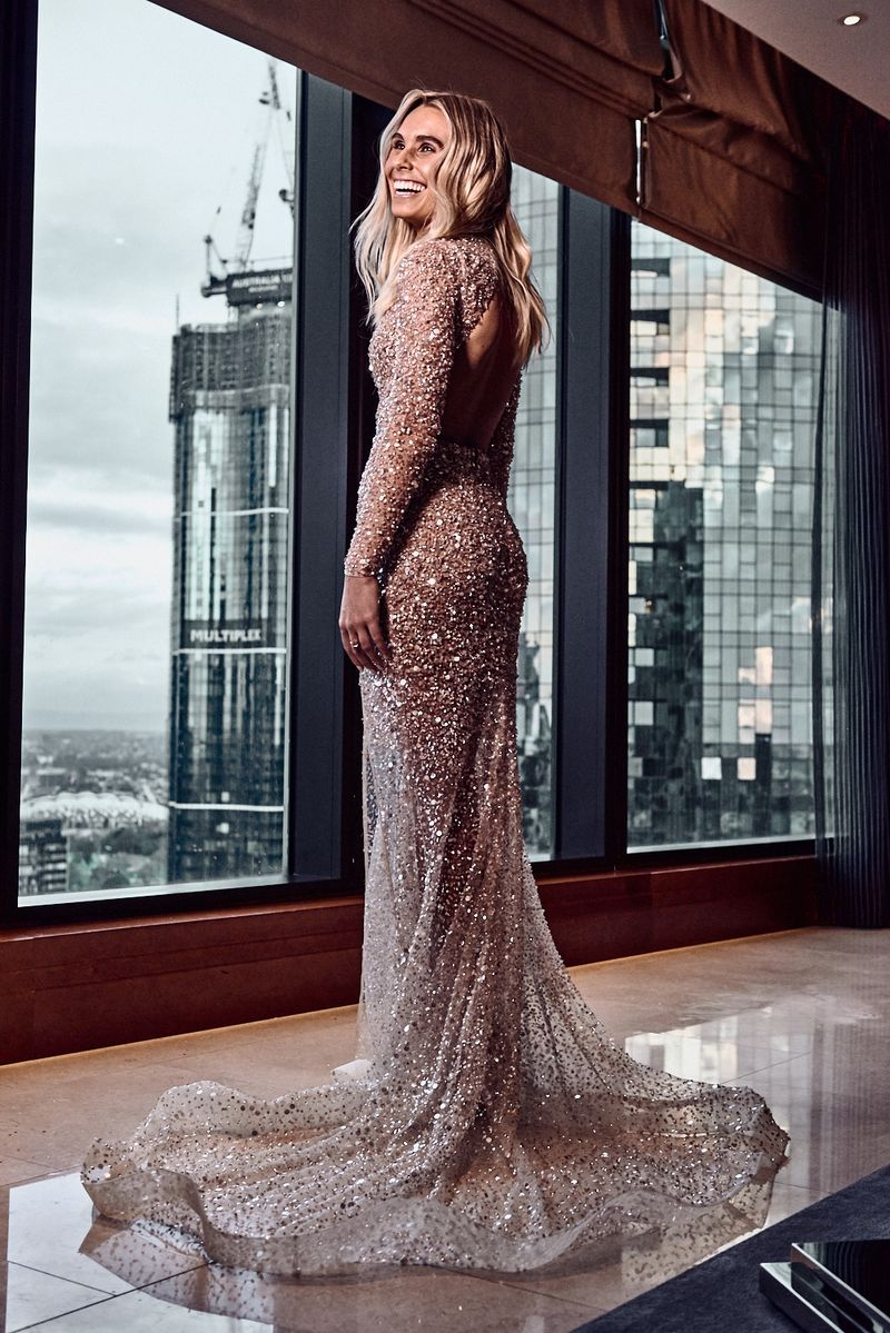 One Day 2018 Brownlow Medal bespoke red carpet gown afl hannah