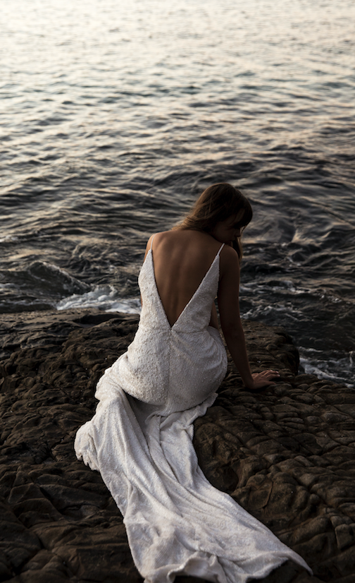 One Day Stockists: Sphere Collective wedding gown by the water
