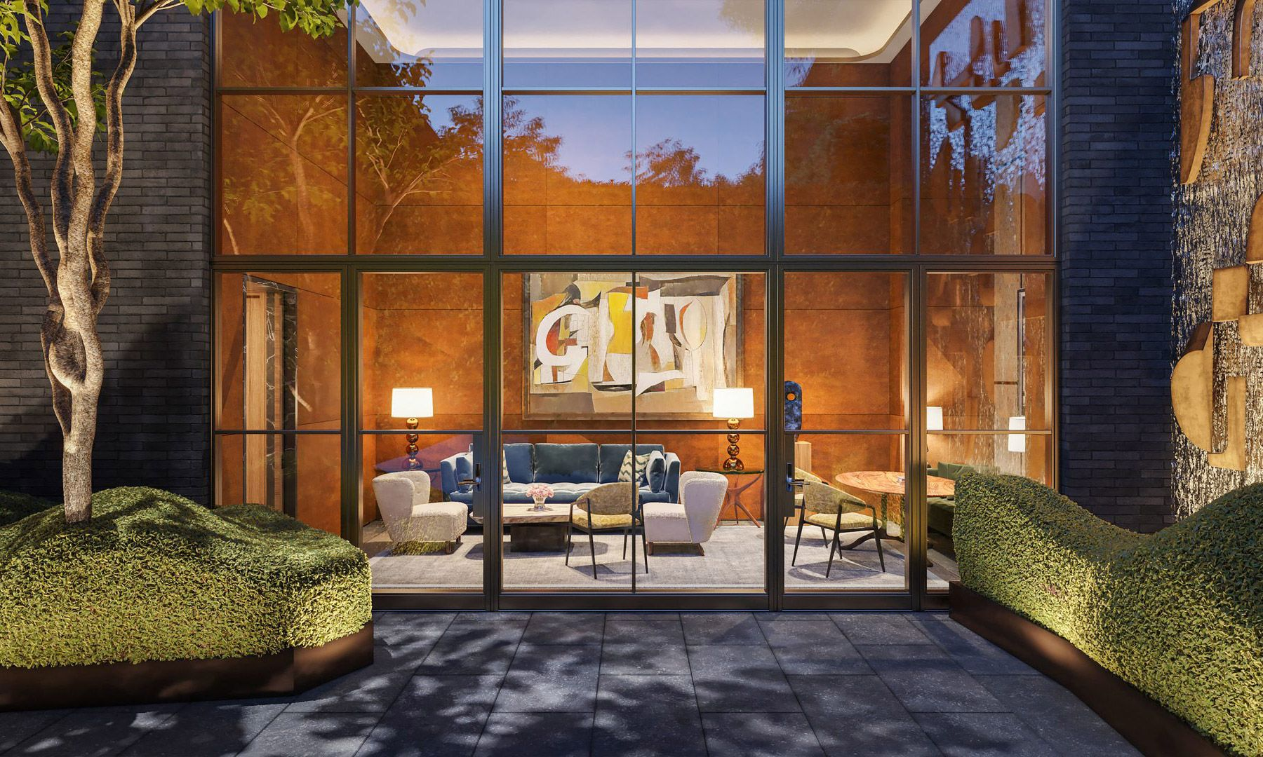 Leather-paneled Library overlooking the landscaped Lobby Garden