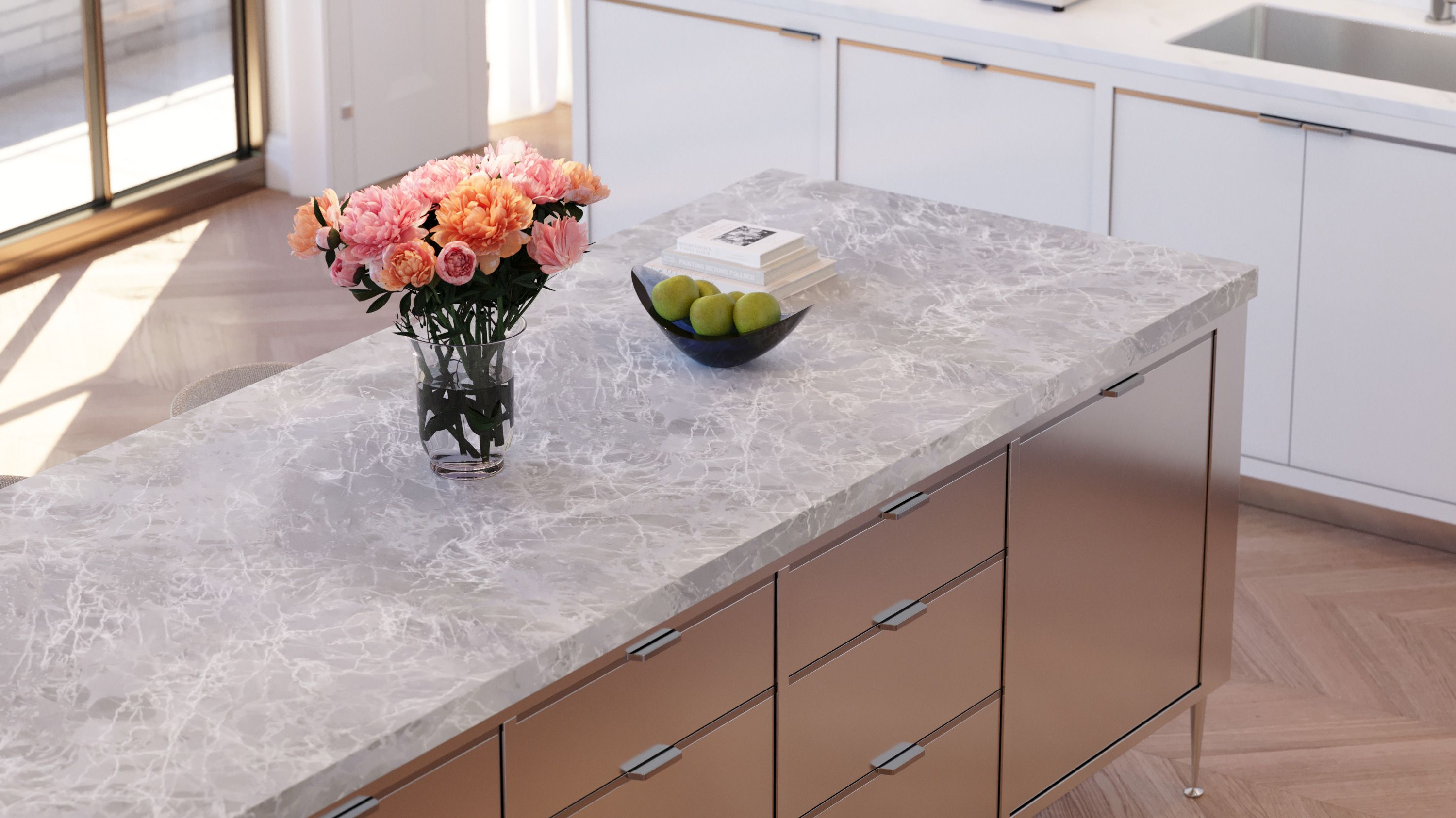 Stainless steel kitchen island with honed Nordic Grey marble countertop