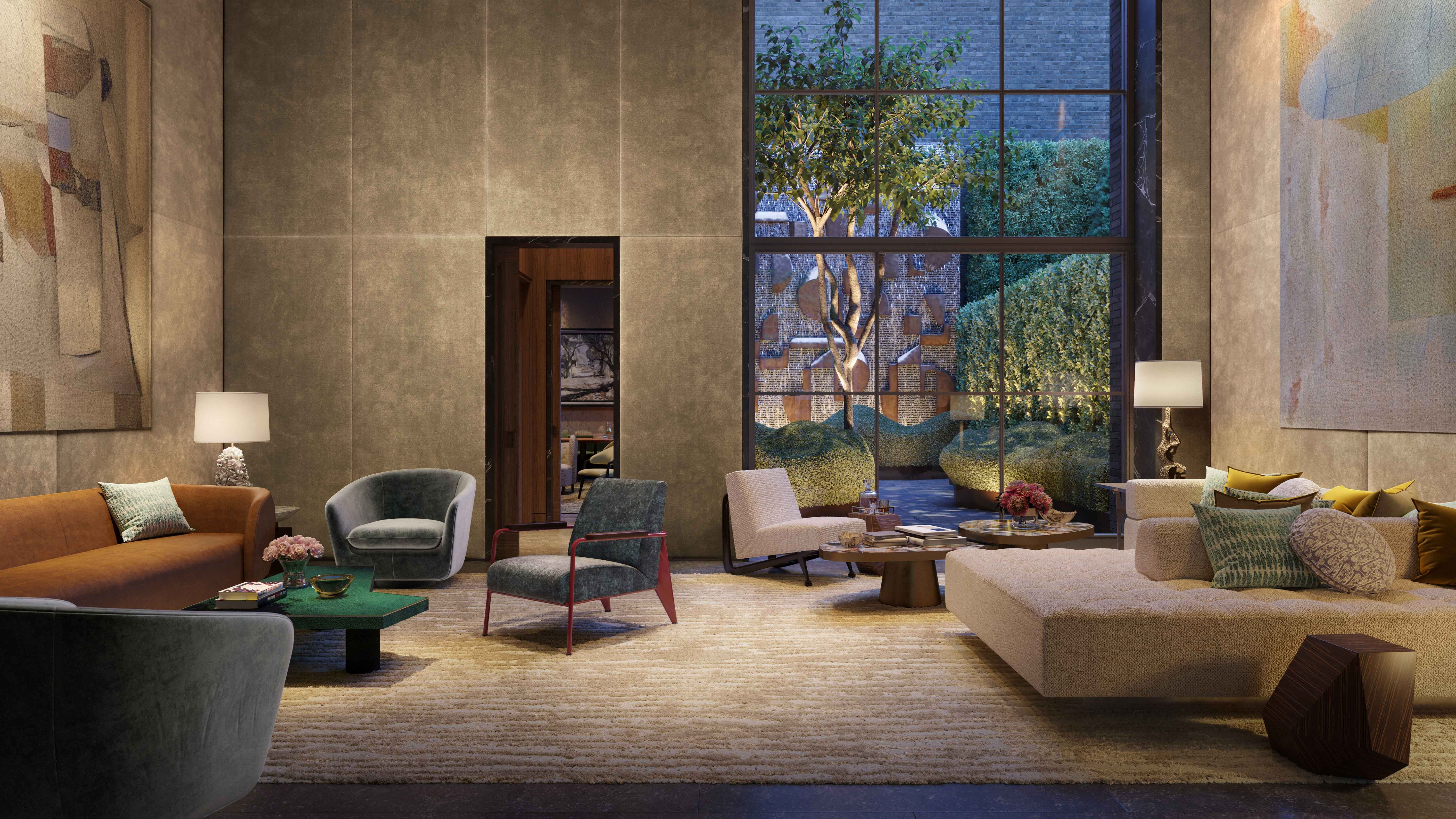 Lobby Lounge and Library with views of the Garden including a sculptural water wall by artist Mig Perkins