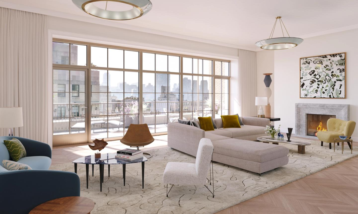 Penthouse 16 living room with terrace and fireplace