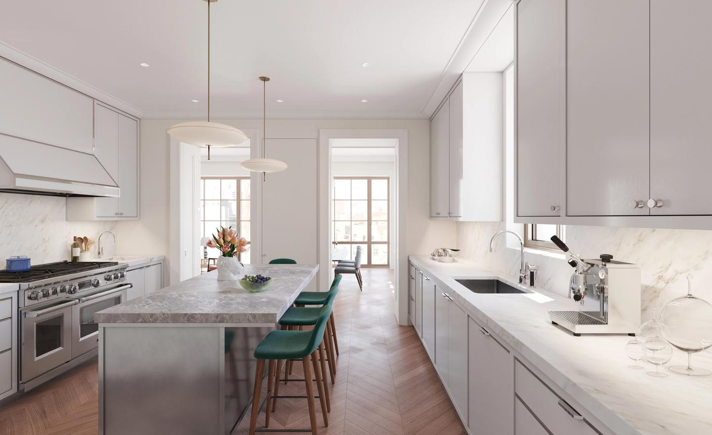 Windowed eat-in-kitchen in half-floor residence with recessed Harmon hinge doors and dining room beyond