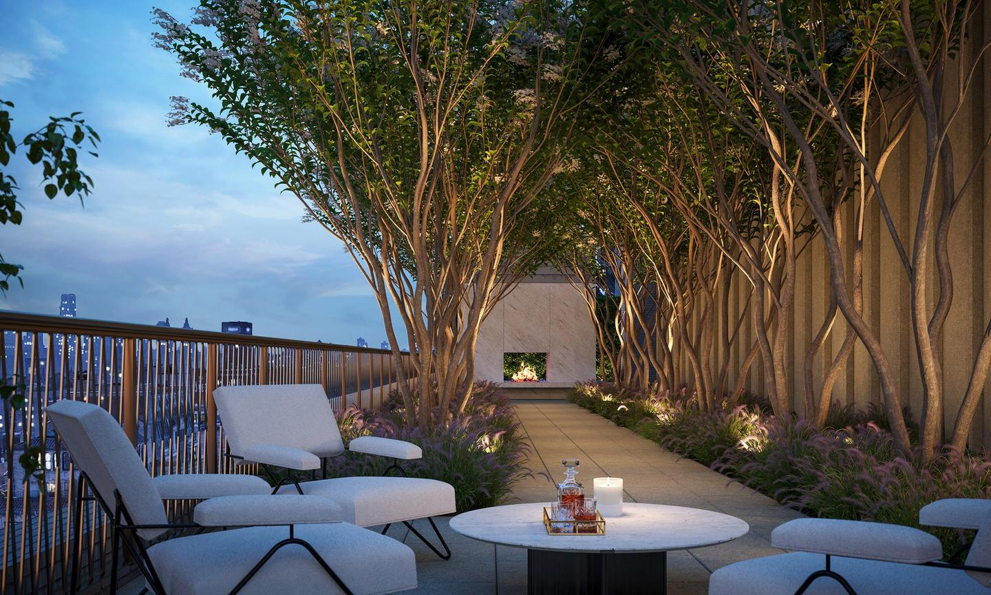 Penthouse 20 private roof terrace with Crepe Myrtle tree allée and outdoor fireplace