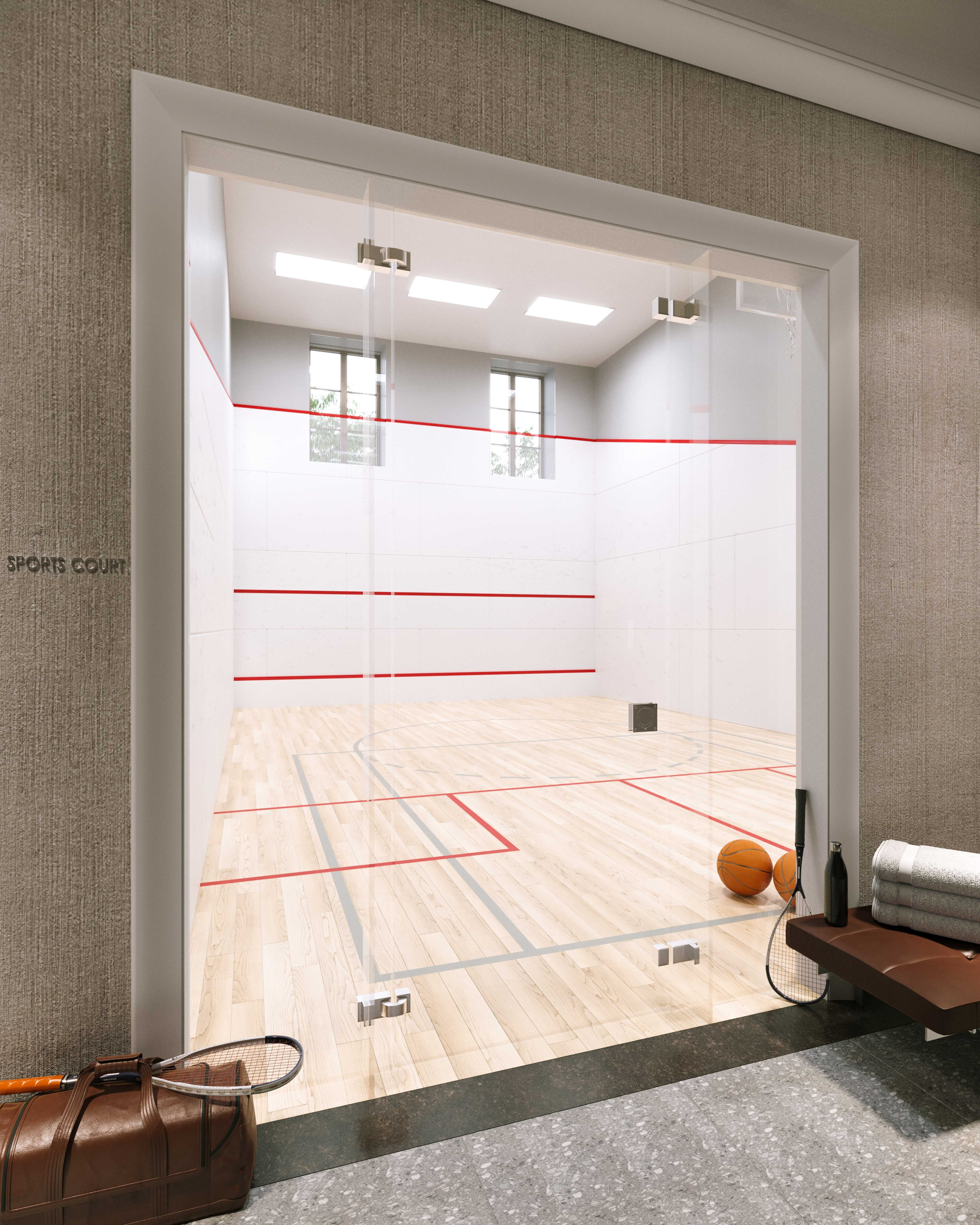 International Squash Court / Sports Court with retractable basketball hoop
