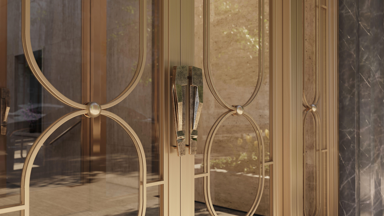 Entrance doors with cast white bronze handles