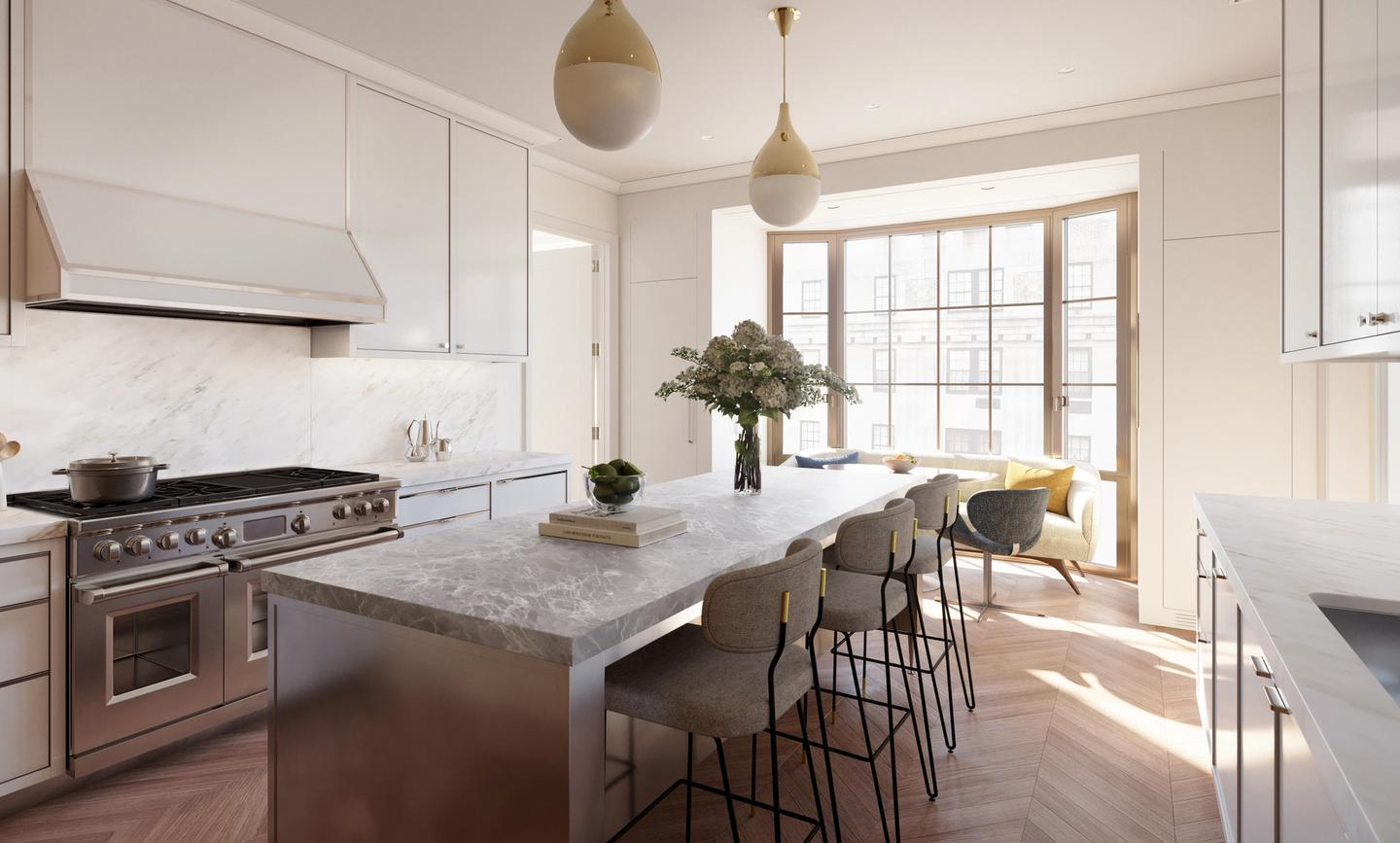 Windowed kitchen in half-floor residence; all kitchens feature premium Wolf and Sub-Zero appliances, including vented range hoods, Dornbracht fittings, and Miele dishwashers