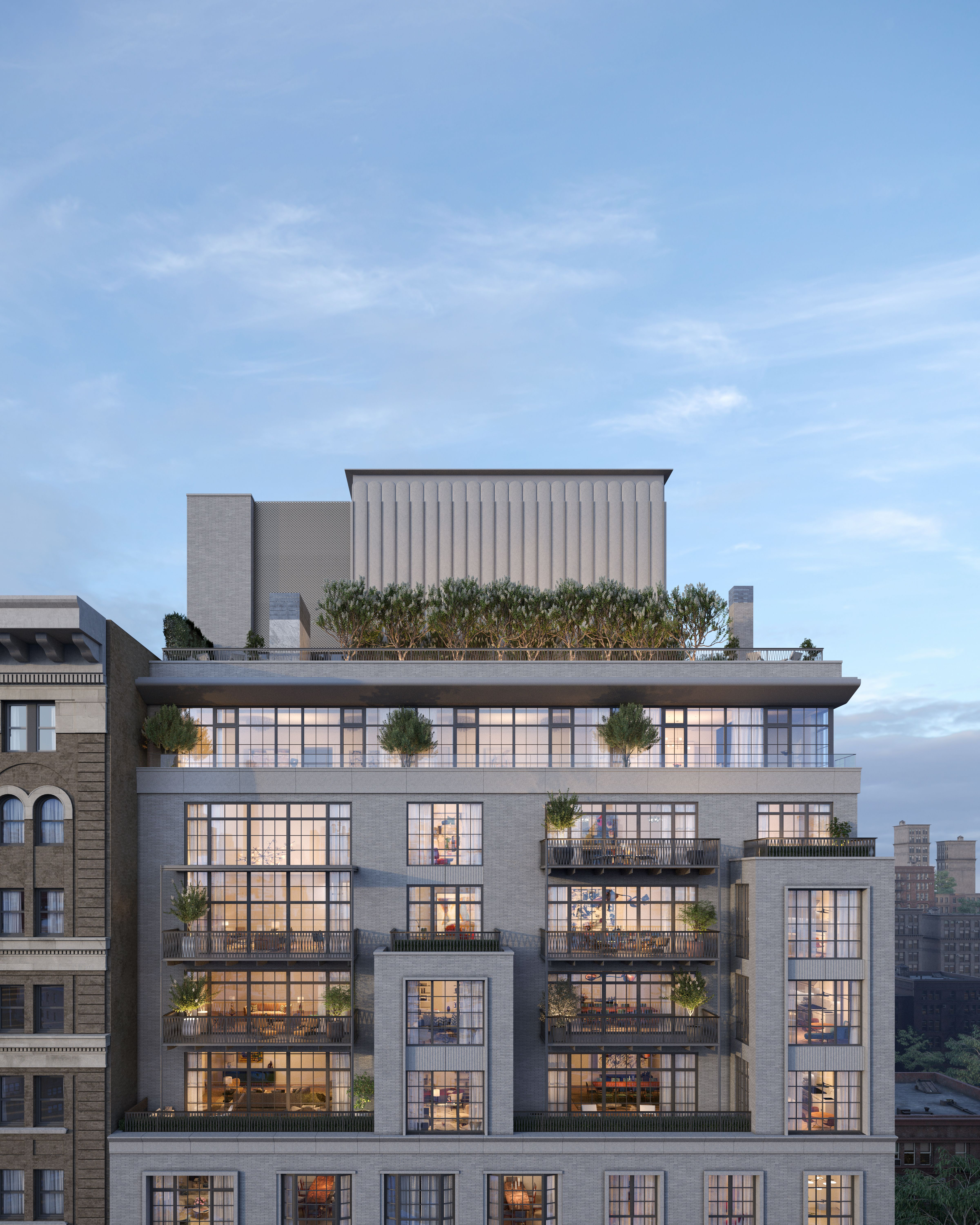 Full-floor Penthouses offer gracious outdoor spaces and sweeping expanses of grandly-scaled casement windows