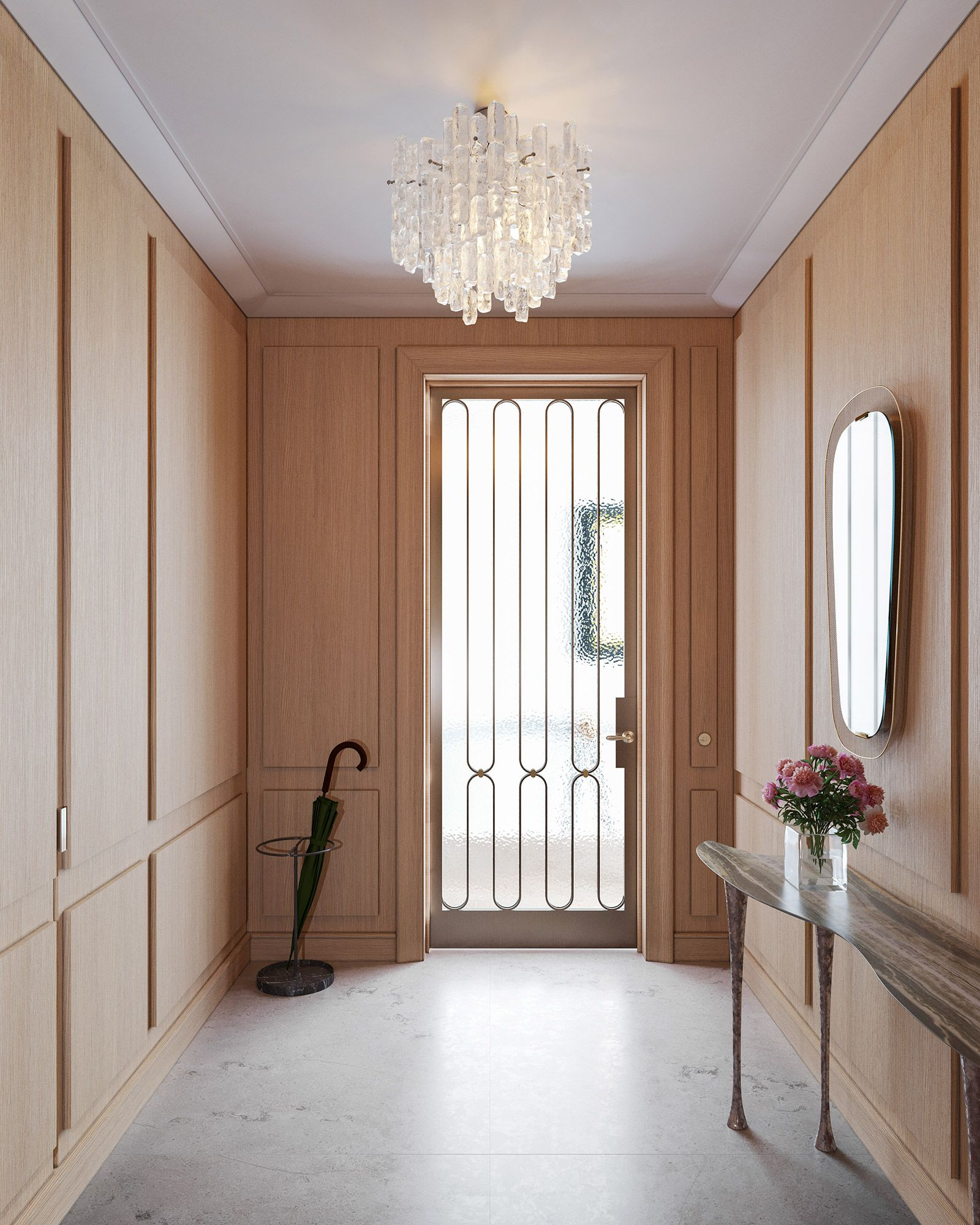 Full and half-floor residences feature private entry vestibules paneled in wire-brushed European oak