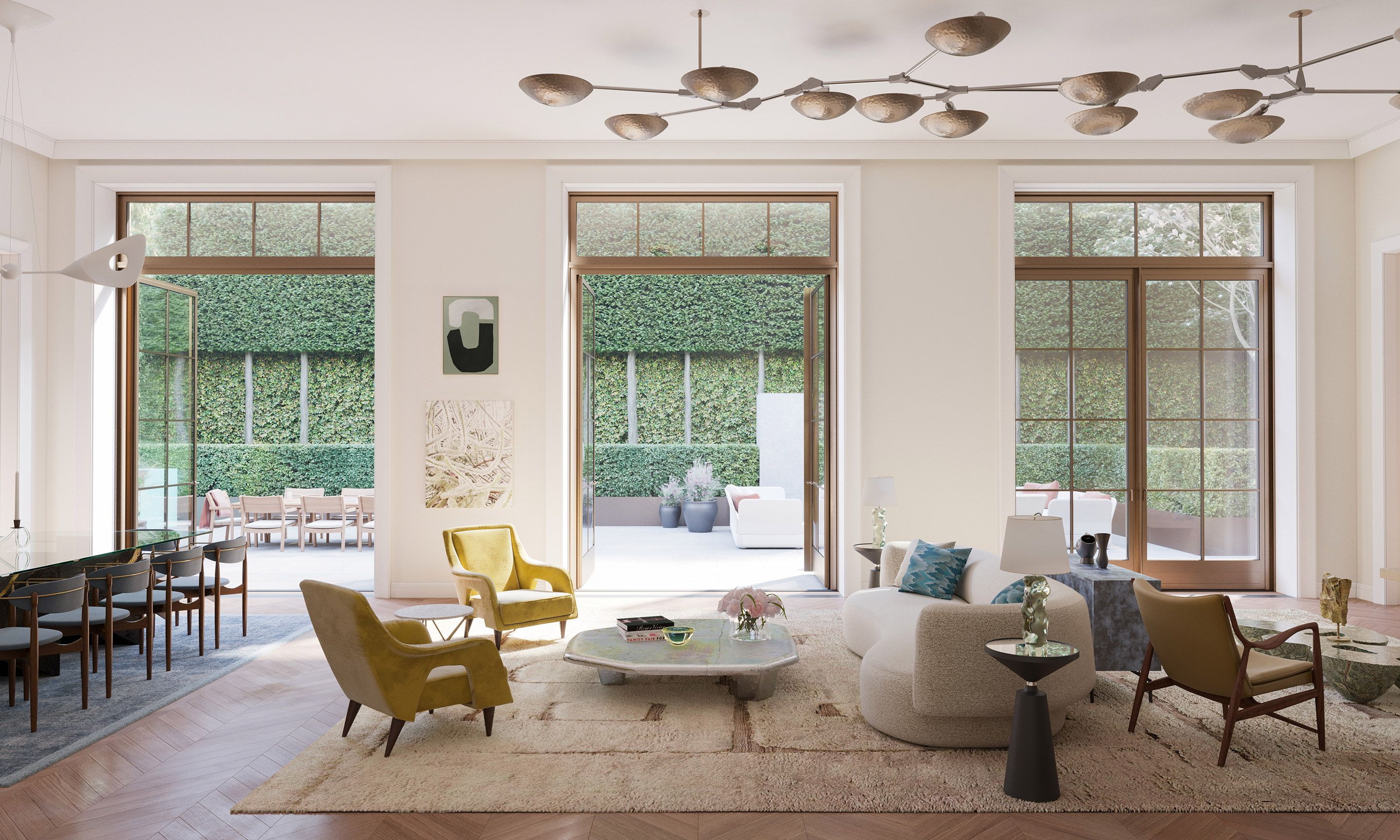 The Townhouse living room overlooking the private landscaped garden