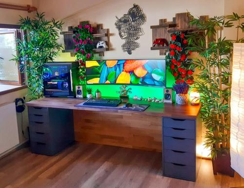 Nature meets technology with clean DIY IKEA KARLBY and ALEX desk