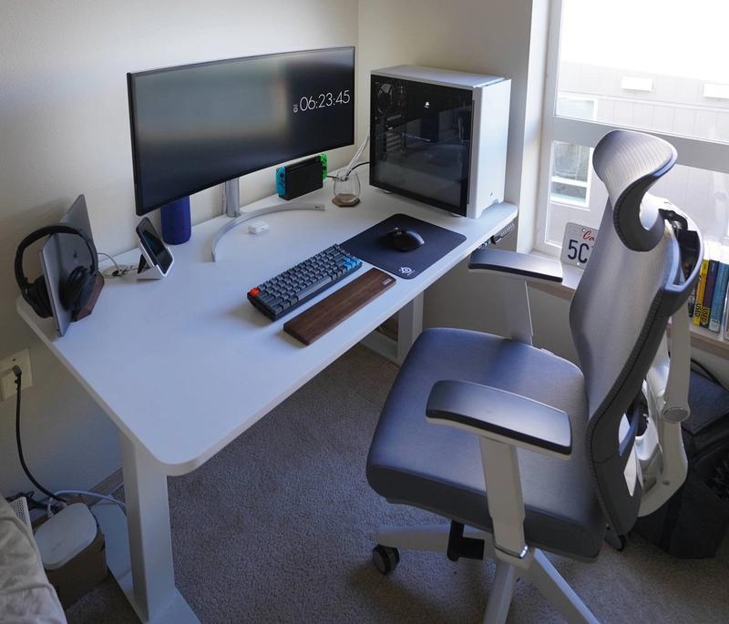Clean white desk setup with 34 inch Ultrawide monitor