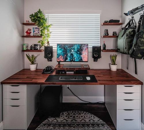Cozy Rustic Setup with DIY IKEA KARLBY desk