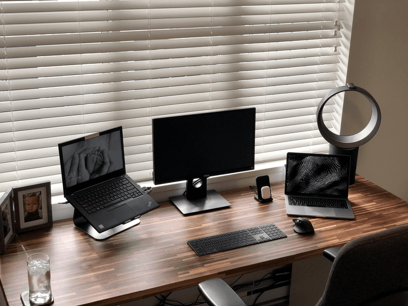 Clean Dual Laptop Desk Setup