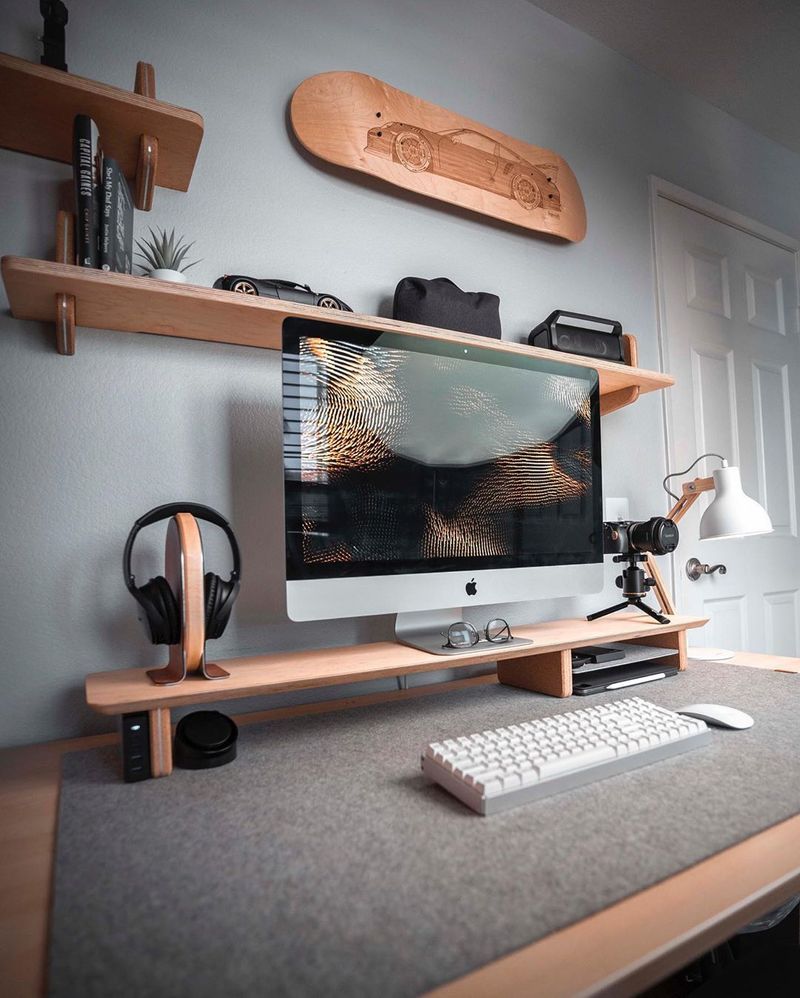 Minimal desk setup with 27 inch iMac