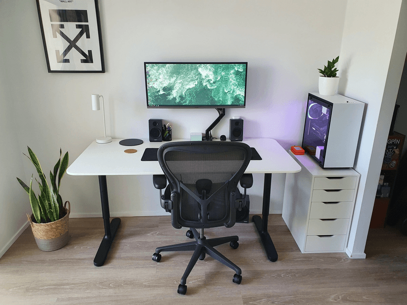 Clean Black and White WFH desk setup