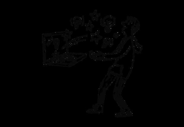 Mann som holder en laptop som det spretter stjerner og lyspærer ut av.