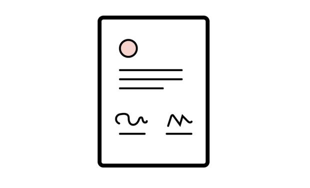 Illustrasjon av en signert kontrakt.
