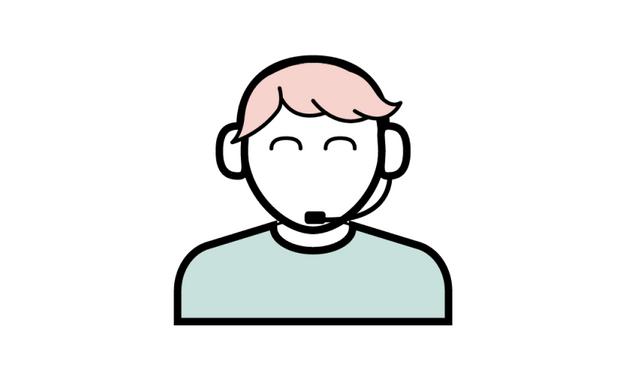 Illustrasjon av person med hodetelefoner med mikrofon.