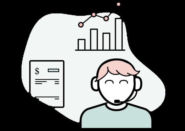 Illustrasjon av supportperson som kan markedsstatistikk og administrasjon