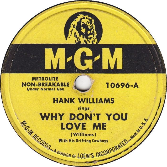 Hank Williams - Why Don't You Love Me - Single Cover