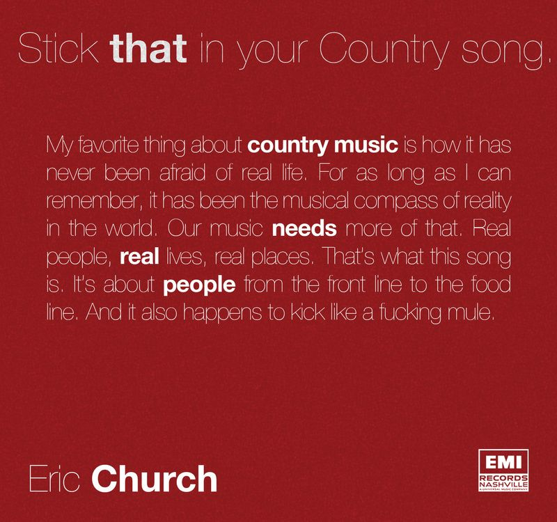 Eric Church - Stick that in your Country song - Single Cover