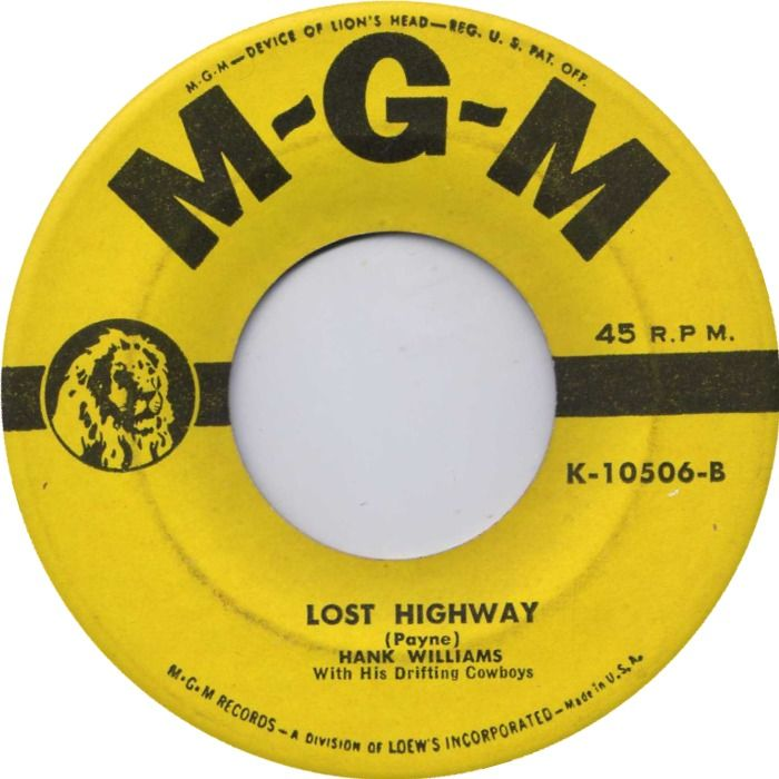 Hank Williams - Lost Highway - Single Cover