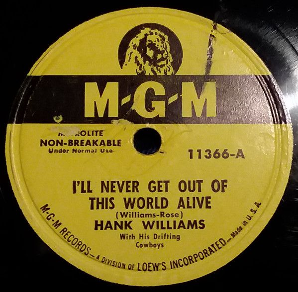 Hank Williams - I'll Never Get Out of This World Alive - Single Cover