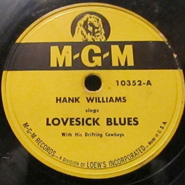 Hank Williams - Love Sick Blues - Single Cover