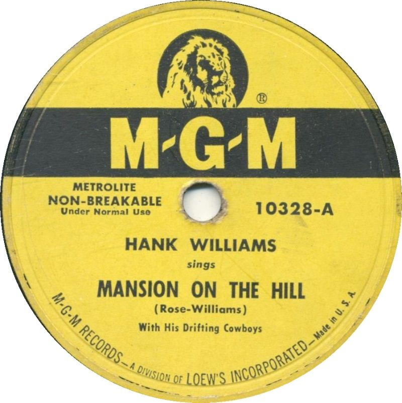 Hank Williams - Mansion on the Hill - Single Cover