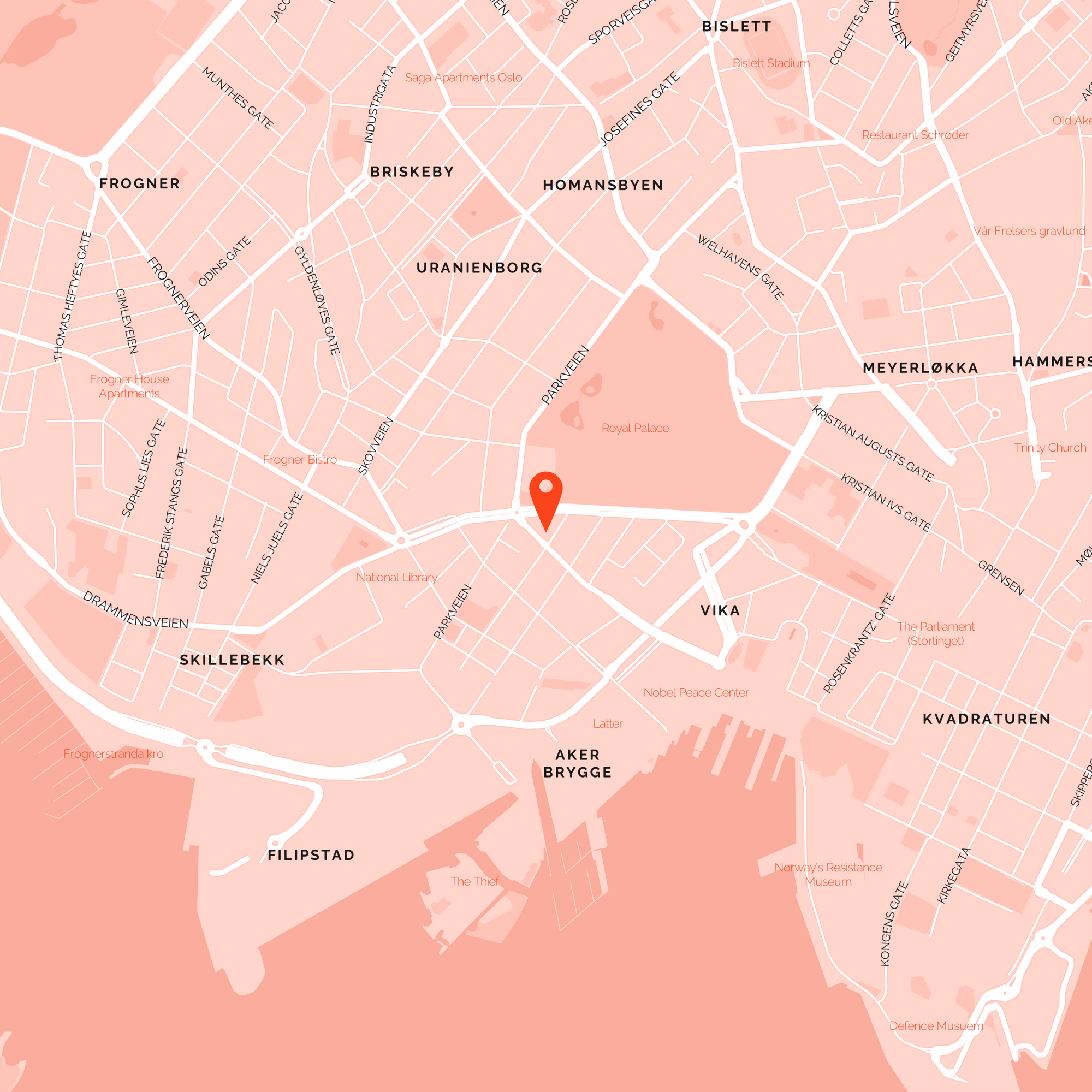 Map of Oslo, with a pin placed near the royal park