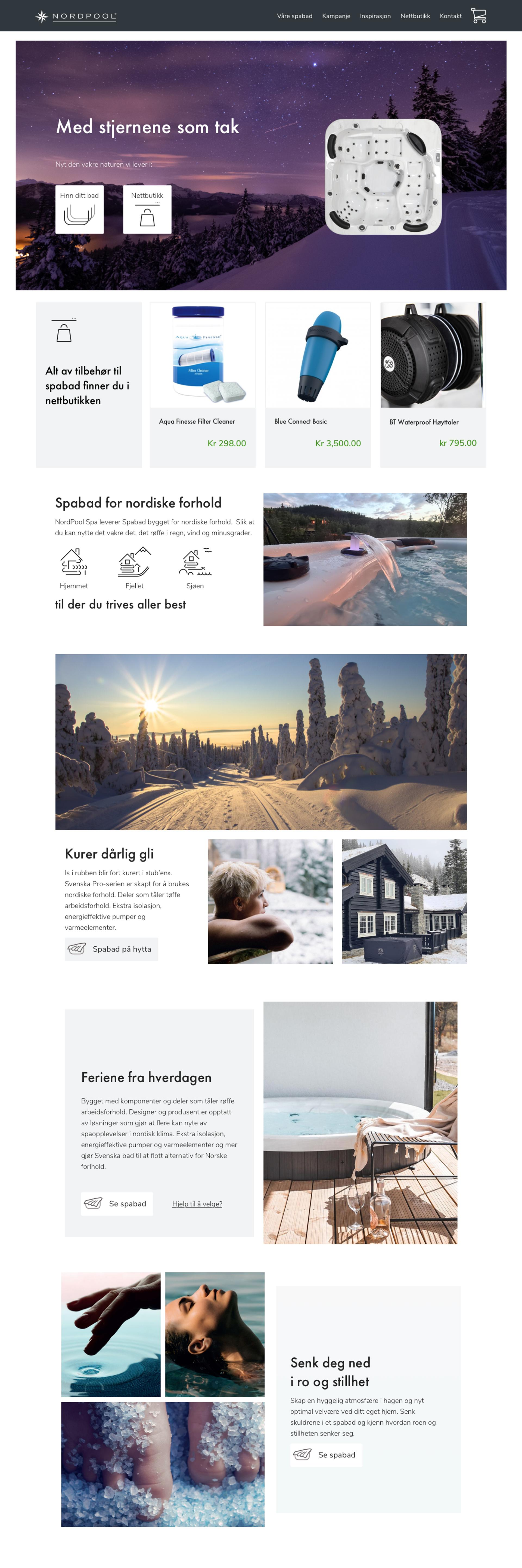 Screenshot Frontpage for Nordpool Spa