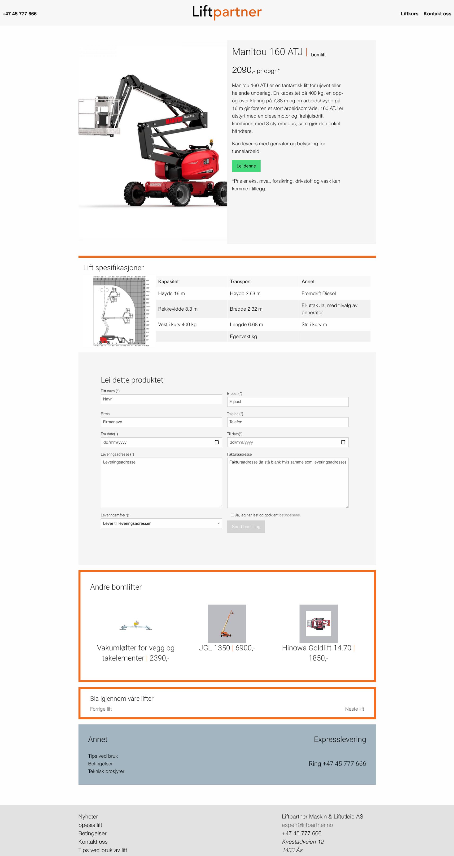 Screenshot of Rent a liftpage