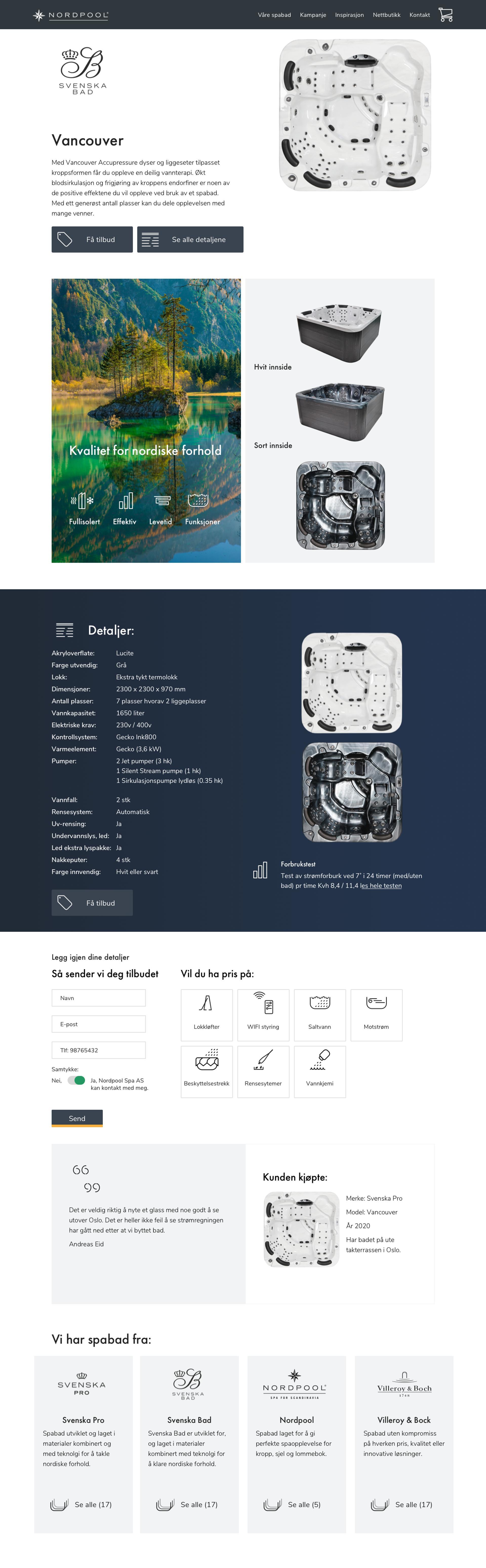 Screenshort of product page spa bad nordpoolspa.no