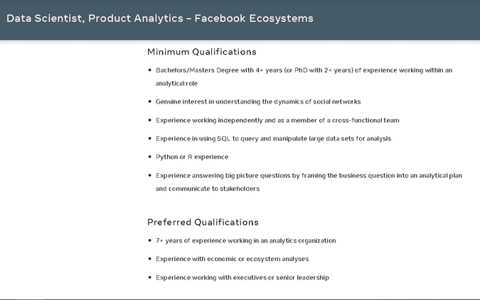 Data Scientist Product Analytics Facebook Ecosystems Position
